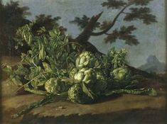 Rather than a tabletop, dramatic landscapes with windswept skies are the settings for mounds of prickly artichokes, clumps of drooping pea pods and scatterings of ripe tomatoes and pears. Theatrical landscape of history painting. International fruits and vegetables, hailing from the Middle East to Peru, is laid out across Spain's epic soil. As if Meléndez, using the only means available, suggests what might have been — if  only he had a royal crack at a different kind of subject.