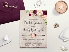 REPIN NOW to check it later!! Rustic Bridal Shower Invitation Printable Boho Bridal Shower Invite Burgundy Blush Bridal Shower Winter Floral Bridal Shower Bohemian Bride by DigartDesigns on Etsy