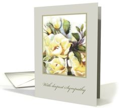 With deepest Sympathy, white Roses, Watercolor Painting card