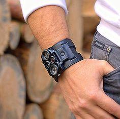 Men's wrist watch leather bracelet Track  Steampunk by dganin