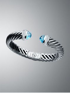 Waverly Cable Bracelet with Blue Topaz and Diamonds, David Yurman - $1,800