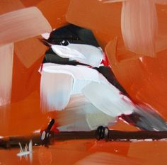 Chickadee no. 415 original bird oil painting by Angela Moulton 5 x 5 inches on panel prattcreekart Ship Date February 21