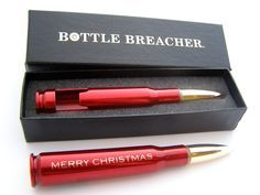 STOCKING STUFFER 50 Caliber Engraved Red Bottle Opener Gift Box. Perfect Holiday Gift! #christmasgift #stockingstuffer #bottleopener