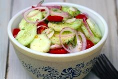 Classic Cucumber & Tomato Salad - simple enough to make Phase 2 friendly.  DEFINITELY doing this.  (Cucumber is a vegetable, tomato counts as fruit, careful on amount of onion.  Use safe vinegar, and toss with MCT instead of other oil.  Add a packet of approved sweetener if you need it, and consider a bit of lemon juice too.)