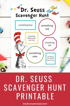 Seuss Scavenger Hunt Printable for Kids - Celebrate Dr. Seuss with this silly rhyming scavenger hunt for kids! Engage their imagination and move a. Rhyming Activities, Educational Activities For Kids, Printable Activities For Kids, Educational Toys, Dr Seuss Game, Dr Seuss Week, Dr. Seuss, Dr Seuss Lorax, Dr Seuss Printables