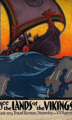 "Poster Art 1937 - ""See the Lands of the Vikings"" Creator/Contributor: Blessum, Benjamin (artist) Published: Sweden : A.Bortzells Tr. A.B. Sthlm. Boston Public Library Retro Poster, All Poster, Cool Posters, Viking Dragon, Viking Shield, Viking Symbols, Viking Runes, Vikings, Hammer Logo"