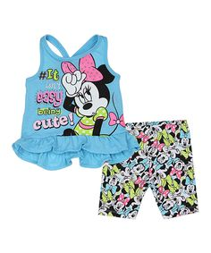 Look what I found on #zulily! Blue Minnie Mouse Tank & Biker Shorts - Infant by Disney #zulilyfinds