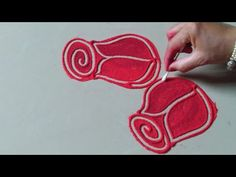 Beautiful red rose flowers rangoli design by Jyoti Raut Rangoli # beautiful - Modern Simple Rangoli Border Designs, Rangoli Designs Latest, Rangoli Designs Flower, Rangoli Borders, Free Hand Rangoli Design, Rangoli Ideas, Rangoli Designs With Dots, Rangoli Designs Diwali, Beautiful Rangoli Designs