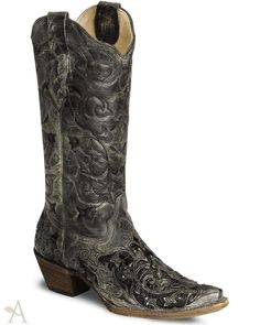 Women's Corral Black Caiman Inlay Cowgirl Boots