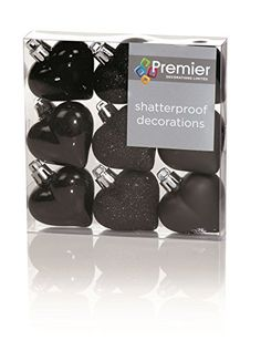 From 3.69 Christmas Decorations 9 Pack 40mm Multi Finish Heart Baubles - Black