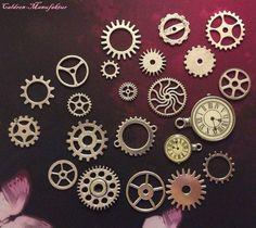 Steampunk+Set+Zahnräder+Silber+Konvolut+22+Teile++von+Caldren-Manufaktur+auf+DaWanda.com