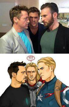 Robert Downey Jr., Chris Hemsworth, and Chris Evans