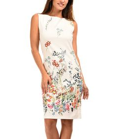 $29.99 marked down from $80! Off-White Floral Sleeveless Sheath Dress