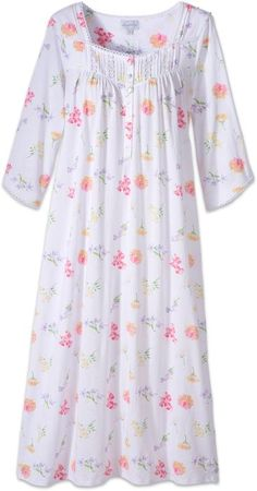 Lanz Tossed Floral Print Nightgown