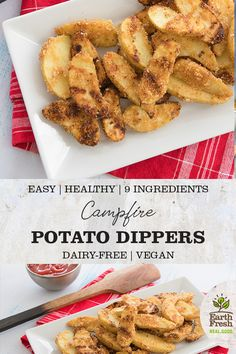 These Campfire Potato Dippers are the perfect camping recipe for a snack or side dish.  EASY. HEALTHY. 9-INGREDIENTS. DAIRY-FREE. VEGETARIAN. RECIPE. FOOD. POTATOES. EARTHFRESH. Dried Potatoes, Roasted Potatoes, Camping Recipes, Camping Meals, Side Dish Recipes, Side Dishes, Dairy Free Recipes, Vegan Recipes, Campfire Potatoes