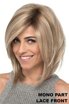 Estetica Wigs - Sky | NameBrandWigs.com Cute Bob Haircuts, Choppy Bob Hairstyles, Bob Hairstyles For Fine Hair, Dark Blonde Highlights, Blonde Tips, Color Highlights, Lob Styling, Chin Length Bob, Sewing Patterns
