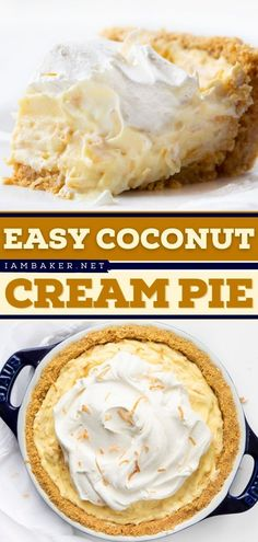 This Easy Coconut Cream Pie is a delicious pie recipe that only needs a few simple ingredients! This old-fashioned and easy dessert recipe is to die for! Pin this easy-to-make sweet treat!