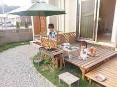 DIYウッドデッキでBBQ Outdoor Tables, Outdoor Spaces, Outdoor Decor, Backyard, Patio, Garden Planning, My House, Outdoor Furniture Sets, Diy And Crafts