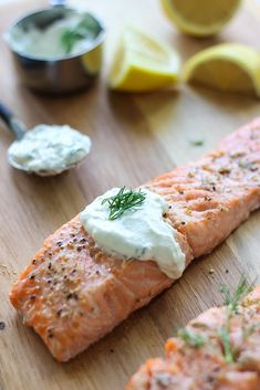 A quick and easy recipe for salmon in creamy dill sauce for two. Seasoned baked … A quick and easy recipe for salmon in creamy dill sauce for two. Seasoned baked salmon paired with a sour cream sauce infused with lemon and fresh dill. Salmon With Cream Sauce, Dill Sauce For Salmon, Creamy Dill Sauce, Dill Salmon, Dill Recipes, Baked Salmon Recipes, Sauce Recipes, Seafood Recipes, Steak