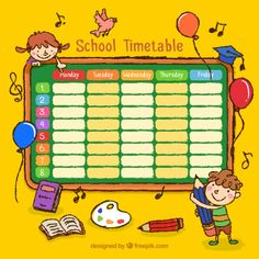 Hand drawn school timetable with drawing. Kids Planner, Daily Planner Pages, School Planner, Kids Schedule, School Schedule, Class Timetable, Timetable Template, Kindergarten Math Worksheets, Chart Design