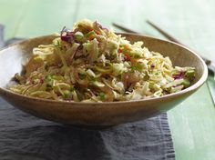 Low Carb Side Dish Recipe. Asian Style Slaw from FoodNetwork.com. Great addition if you are doing your meats seasoned with Asian flavors or to jazz up simple grilled chicken or steak.