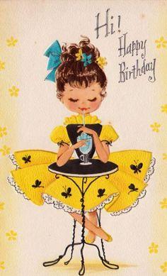Vintage 1960 Hi Happy Birthday