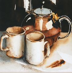 Tea for two - Nadia Tognazzo Watercolor Projects, Watercolor Artists, Watercolor Illustration, Watercolour Painting, Painting & Drawing, Watercolors, Still Life Drawing, Still Life Art, Watercolor Fruit