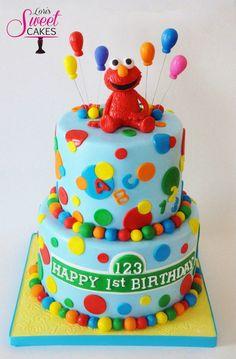 Super cute Elmo cake by Lori's Sweet Cakes