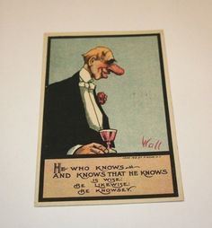 1910 Antique Postcard Big Nose Know Wise Man Humor Artist Signed Bernhardt Wall