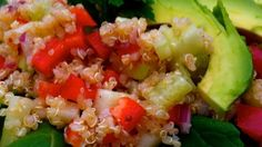 Tender steamed kale, quinoa, bell pepper, cucumber, onion, and avocado are tossed with a homemade vinaigrette in this super salad.