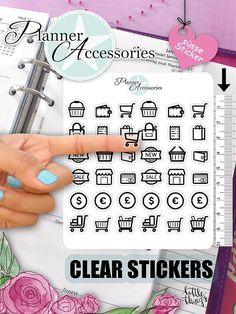 Clear Shopping Stickers Shopping Cart von EmelysPlannerShop auf Etsy