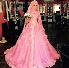 Arábia Saudita Dubai Muçulmano Do Vestido de Casamento 2016 Laço Cor de Rosa de Manga Comprida vestido de Baile de noiva Abaya Alta Pescoço Apliques Robe de mariage A68(China (Mainland))