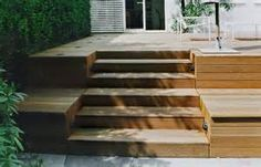 Steps in terraced deck