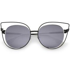 Oversize Metal Cutout Frame Arrow Accent Flat Lens Cat Eye Sunglasses 57mm  #sunglass #sunglasses #oversized #frame #cateye #womens #summer #mirrored #sunglassla #clear