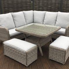 de022a8a1a39 Rattan Garden Furniture Alexandra brown corner sofa + Dining table +2  stools set. Alex0123_11. Homeflair