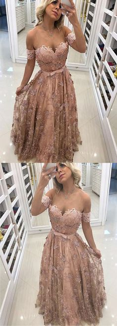 Off Shoulder Prom Dress, Lace Prom Dress, Elegant Fashion Long Evening Gowns