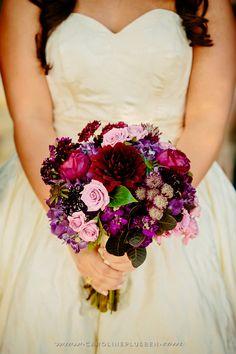 We love this deep purple bridal bouquet! Floral Design by Kari Shelton