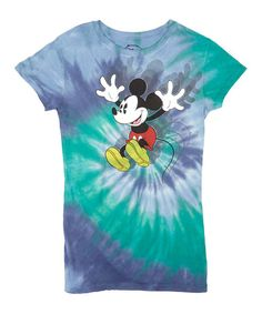 Another great find on #zulily! Swimmer Blue Tie-Dye Excited Mickey Mouse Tee - Juniors #zulilyfinds $10
