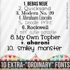 """10 Extra """"Ordinary"""" Free Fonts  ~~  {easy download links -- but skip #5. Doodle Print - it comes from a bad site!}"""