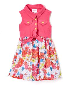 Take a look at this Nannette Pink Floral Button-Front Dress - Girls today!