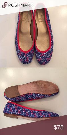 Tipsy Skipper Lobster Print Ballet Flat  These adorable preppy flats are made in the U.S. By Tipsy Skipper and are not available any more. Grosgrain trim, leather bottoms, and print fabric. Only worn a few times! Tipsy Skipper Shoes Flats & Loafers