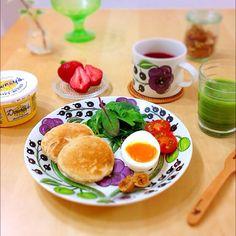 全粒粉パンケーキで、朝ごはん。♡