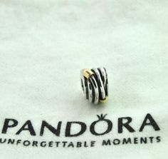 19c430c4f AUTHENTIC PANDORA SILVER ROPE BEAD CHARM # 790251 TWO TONE 14K GOLD RETIRED  NEW #Pandora790251