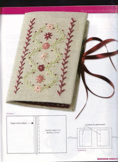 RETIRADO DA NET Flower Embroidery Designs, Embroidery Stitches, Embroidery Patterns, Vintage Sewing Notions, Vintage Sewing Machines, Needle Case, Needle Book, Sewing Case, Hand Sewing