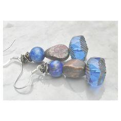 Royal Blue earrings blue boho statement Bohemian earrings Czech glass... (€25) ❤ liked on Polyvore featuring jewelry and earrings