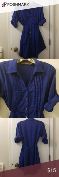Blouse Royal blue blouse/dress with chrome buttons perfect for leggings long Speed Control Tops Camisoles