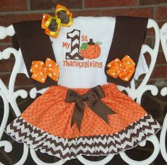 My 1st Thanksgiving outfit! Listing includes: 1. Applique bodysuit 2. Ruffle Skirt 3. Leg warmers 4. Hair bow Dont want the leg warmers? See this