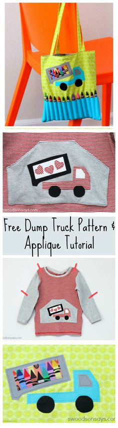 Free Dump Truck Applique Pattern and Tutorial for using Wonder Under to applique - Swoodsonsays.com