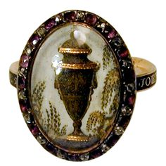 18th C. Urn Motif Memorial Ring with Diamond & Amethyst Surround | From a unique collection of vintage dome rings at https://www.1stdibs.com/jewelry/rings/dome-rings/