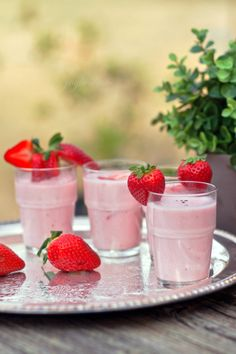 """Strawberry Lassi ~ via this blog, """"1-2 Simple Cooking""""."""